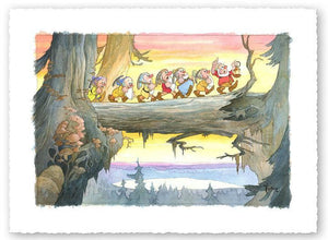 The Seven Dwarfs march cross a large fallen tree trunk, singing as they make their way home, after a long day at the mines.