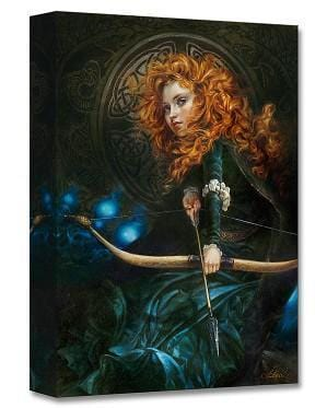 Portrait of Merida with her beautiful curled flowing red hair, holding her bow and arrow.