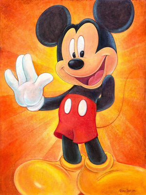 Hi, I'm Mickey Mouse by Bret Iwan  A friendly Mickey waves his hand, to introduce himself.