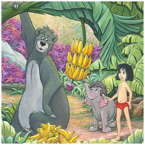 Home in the Jungle by Michelle St. Laurent.  Mowgli and Baloo help baby elephant Hathi Jr. by lowering down the hanging cluster of bananas from the bananas tree - closeup