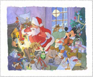 Santa Claus finds Mickey and friends asleep