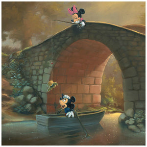 Hooked On You by Rob Kaz.  Minnie surprises Mickey as she catches his hat with her fishing pole from on top of the bridge - closeup