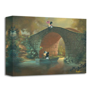 Hooked On You by Rob Kaz.  Minnie surprises Mickey as she catches his hat with her fishing pole from on top of the bridge.
