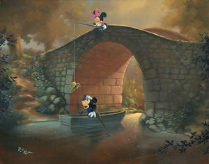 Minnie surprises Mickey by catching his sun hat with a fishing pole, before Mickey's boat drifts under the bridge.