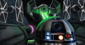 R2-D2 - Starfighter with being chased by the First Order TIE Fighter