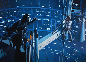 Darth Vader reaches out to help the injured Luke who is hanging on to a beam. Inspired by  Star Wars -The Empire Strikes Back