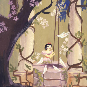 I'm Wishing by Lorelay Bove.  Snow White standing by the well in the woody garden, daydreaming of her prince -closeup.