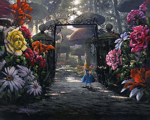In the Garden by Rodel Gonzalez  Alice wonders through the giant garden plants in Wonderland.