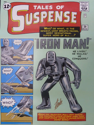 Iron Man in a gray shades, from Marvel's Comic book cover Tales of Suspense.