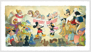 It All Started With A Mouse by Toby Bluth  All the Disney's characters, join Mickey and Minnie in the celebration.