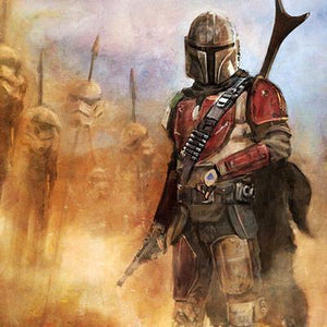 It's a complicated Profession - Boba Fett with storm troopers helms on stakes - Closeup