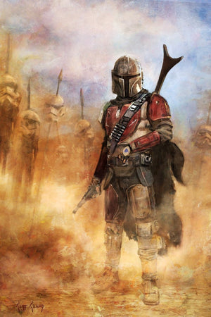 It's a complicated Profession - Boba Fett with storm troopers helms on stakes - Canvas