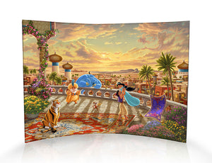 Princess Jasmine and Aladdin twirl about underneath the Arabian sunset with the magic carpet