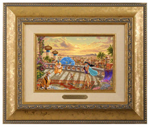 Jasmine Dancing in the Desert Sunset by Thomas Kinkade Studios.  A floral fragrance fills the warm desert air and the soft wind blows, creating a beautiful melodic harmony - Brushworks Gold Frame