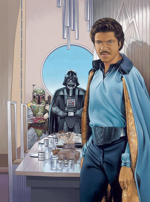 "Feature the Baron Landon is Balthazar ""Lando"" Calrissian III and Boba fett and Darth Vader"