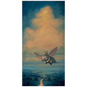 Joy of Flight by Rob Kaz.  Timothy the Mouse sits on top of Dumbo's hat as they fly over the countryside.