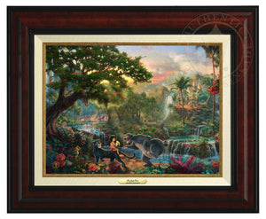 Jungle Book by Thomas Kinkade Studios.  Mowgli  the man-cub sits on the back of Bagheera while eating his banana, and watches Baloo play around - Burl Frame