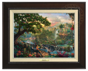 Jungle Book by Thomas Kinkade Studios.  Mowgli  the man-cub sits on the back of Bagheera while eating his banana, and watches Baloo play around - Espresso