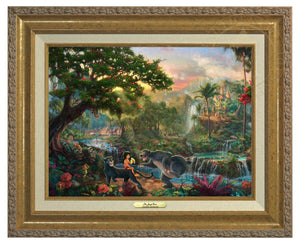 Jungle Book by Thomas Kinkade Studios.  Mowgli  the man-cub sits on the back of Bagheera while eating his banana, and watches Baloo play around - Antique Gold Frame