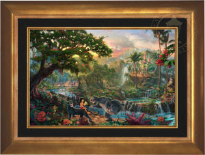 Mowgli the man-cub, the evil tiger Shere Khan, the wise panther Bagheera and Baloo, the lovable Poppa Bear - Aurora Gold Frame