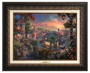 Lady and the Tramp by Thomas Kinkade Studios.  Lady meets Tramp - Aged Bronze Frame