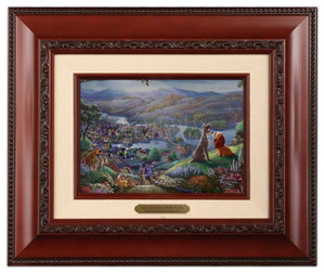 Lady and the Tramp Falling in Love by Thomas Kinkade Studios -  Brandy Frame