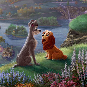 Lady and the Tramp sit gazing into each other's eyes and falling-in-love, they are seemingly unaware of the world around them - closeup