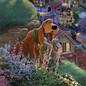 Trusty, the noble Bloodhound with a lost sense of smell recites words of wisdom while keeping his nose on the trail of his friends - closeup