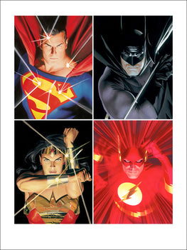 Counter-clockwise portraits of Batman, The Flash, Wonder Woman and Superman.