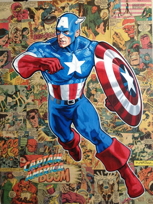 """Legacy Captain America"" Features: Captain America, and comic stripes in the background. Edition Size: 50,  Limited Edition Giclee on Canvas Hand-Embellished by Randy Martinez and signed by Stan Lee"