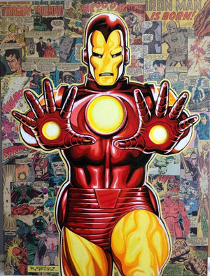 Legacy: Iron-Man by Randy Martinez.  Iron-Man stands in from of a comic book, showing the power of the rays that shot from the palms of his gauntlets.