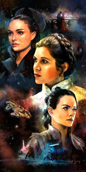 featuring Padme, Leia and Rey - Paper Print
