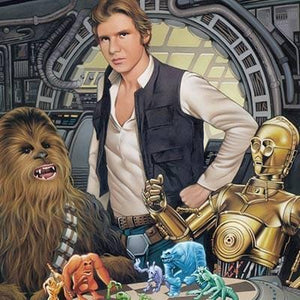 Han tells C3PO to let Chewbacca win, at the popular holographic board game called Dejarik - Closeup