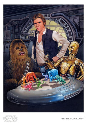 Han tells C3PO to let Chewbacca win, at the popular holographic board game called Dejarik - Paper