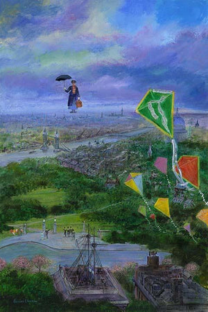 Let's Go Fly A Kite by Harrison Ellenshaw.  Mary Poppins flies over head holding her black umbrella and red handbag, among a bunch of colorful kites.