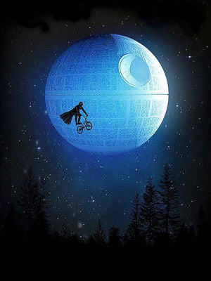 Darth Vader having an E.T. the Extra-Terrestrial moment as he rides his bike by the Death Star (moon).