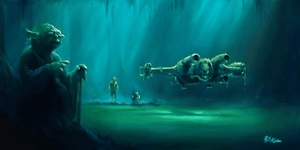 Yoda, uses the force to lift Luke's  X-wing fighter out off the swampy waters.