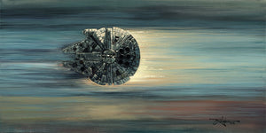 The Millennium Falcon travels at lightspeed.