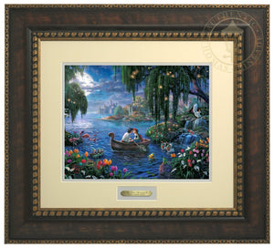Prince Eric and Ariel are on a boat in the blue lagoon surrounded by Scuttle, Sebastian, Flounder, and friends who have prepared the mood in hopes that the couple will find their enchanted love - Bronze Gold Frame