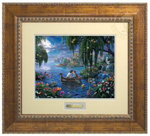 Prince Eric and Ariel are on a boat in the blue lagoon surrounded by Scuttle, Sebastian, Flounder, and friends who have prepared the mood in hopes that the couple will find their enchanted love - Antiqued Gold Frame