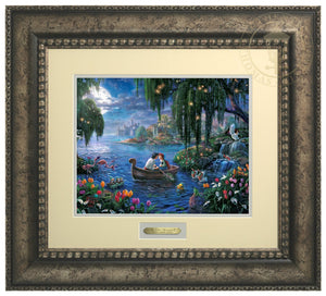 Prince Eric and Ariel are on a boat in the blue lagoon surrounded by Scuttle, Sebastian, Flounder, and friends who have prepared the mood in hopes that the couple will find their enchanted love - Antiqued Silver Frame