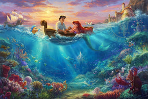 Prince Eric comes out to meet Ariel on a small rowboat, as all the sea creatures look on - unframed