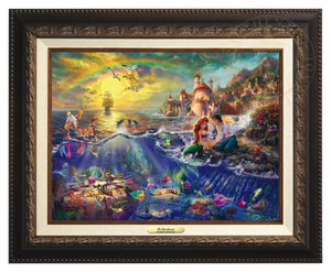 Little Mermaid by Thomas Kinkade.  Ariel and Prince Eric sitting by the shore - Aged Bronze Frame