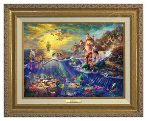 Little Mermaid by Thomas Kinkade.  Ariel and Prince Eric sitting by the shore - Antique Gold Frame