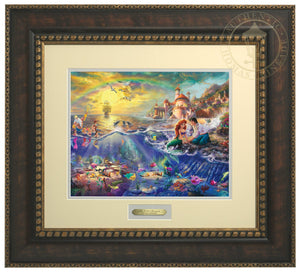 Ariel and Prince Eric sitting by the shore - Bronze Gold Frame