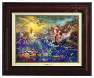 Little Mermaid by Thomas Kinkade.  Ariel and Prince Eric sitting by the shore - Burl Frame