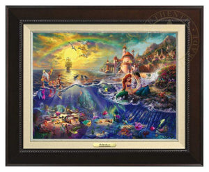 Little Mermaid by Thomas Kinkade.  Ariel and Prince Eric sitting by the shore - Espresso