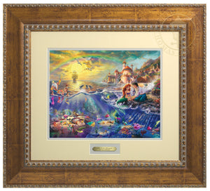 Ariel and Prince Eric sitting by the shore - Antiqued Gold Frame