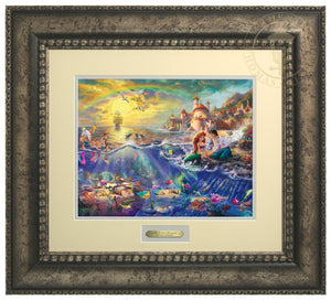 Ariel and Prince Eric sitting by the shore - Anitqued Silver Frame