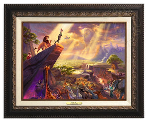 Rafiki proudly symbolizes what awaits when destiny iwith the birth of the kingdom's future king Simba - Aged Bronze Frame.
